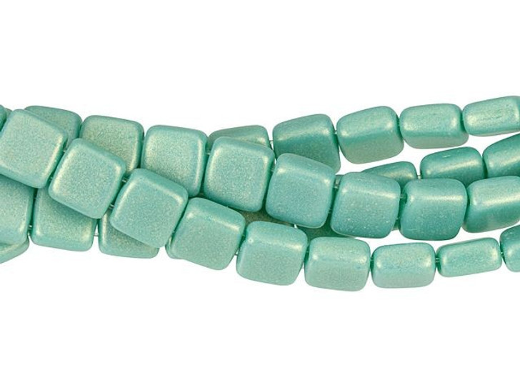 CzechMates Glass 6mm Sueded Gold Turquoise Two-Hole Tile Bead Strand