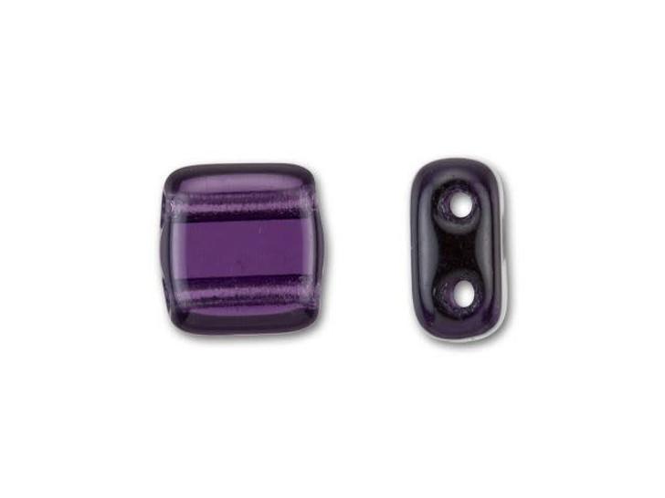 CzechMates Glass 6mm Tanzanite Two-Hole Tile Bead