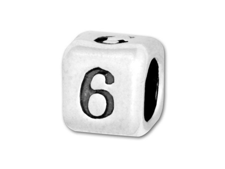 4.5mm Sterling Silver Number Bead - 6