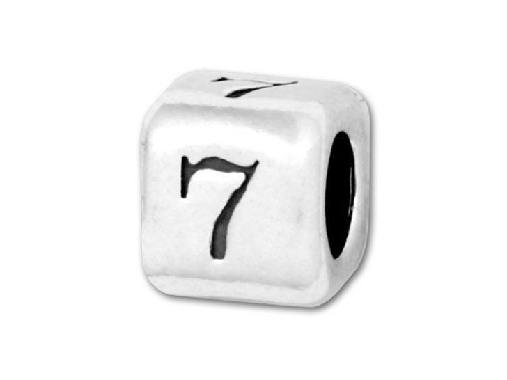 4.5mm Sterling Silver Number Bead - 7