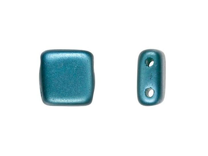 CzechMates Glass 6mm Teal Pearl Coat Two-Hole Tile Bead