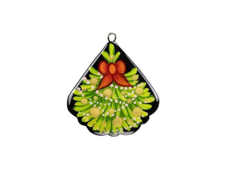Christmas Tree Hand-Painted Paper Mache Fan Pendant
