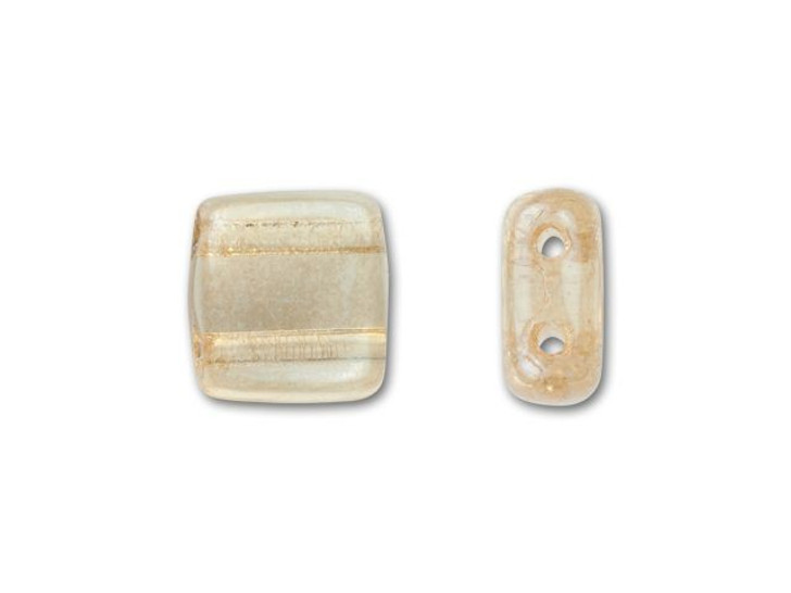 CzechMates Glass 6mm Transparent Champagne Luster Two-Hole Tile Bead