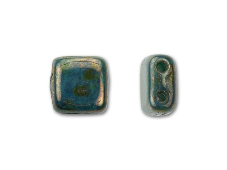 CzechMates Glass 6mm Turquoise with Bronze Picasso Two-Hole Tile Bead