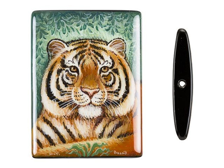 40x30mm Tiger in a Field on Black Agate Rectangle Bead