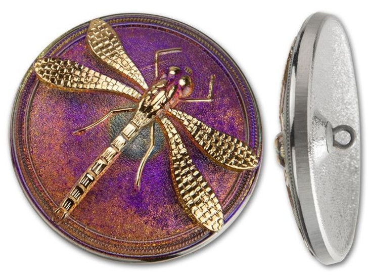 41mm Czech Glass Round Gold Dragonfly Purple Background Button by Raven's Journey