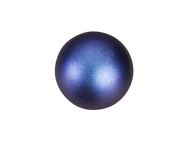 Swarovski 5818 10mm Round Half-Drilled Pearl Crystal Iridescent Dark Blue