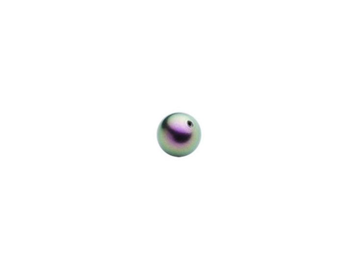Swarovski 5818 4mm Round Half-Drilled Crystal Pearl Iridescent Purple