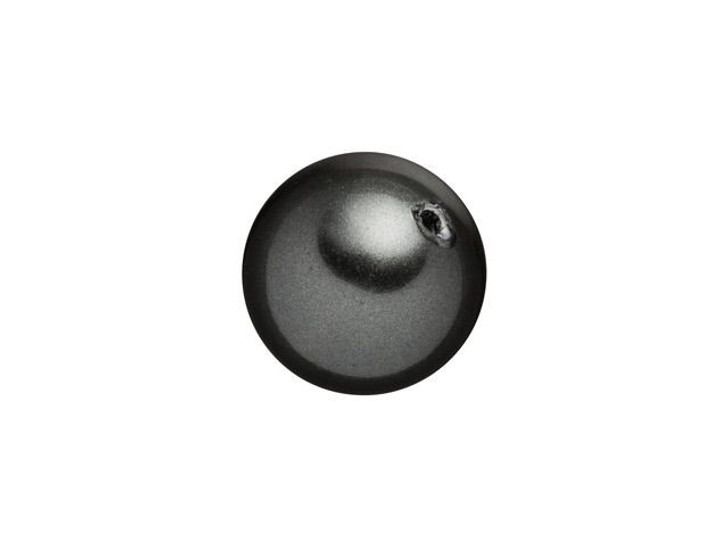 Swarovski 5818 8mm Round Half-Drilled Crystal Pearl Black