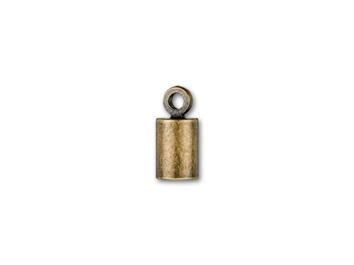 4mm Antique Brass-Plated Cord End Cap with Loop