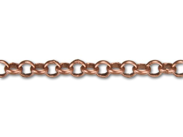 4mm Antique Copper-Plated Rolo Chain By the Foot
