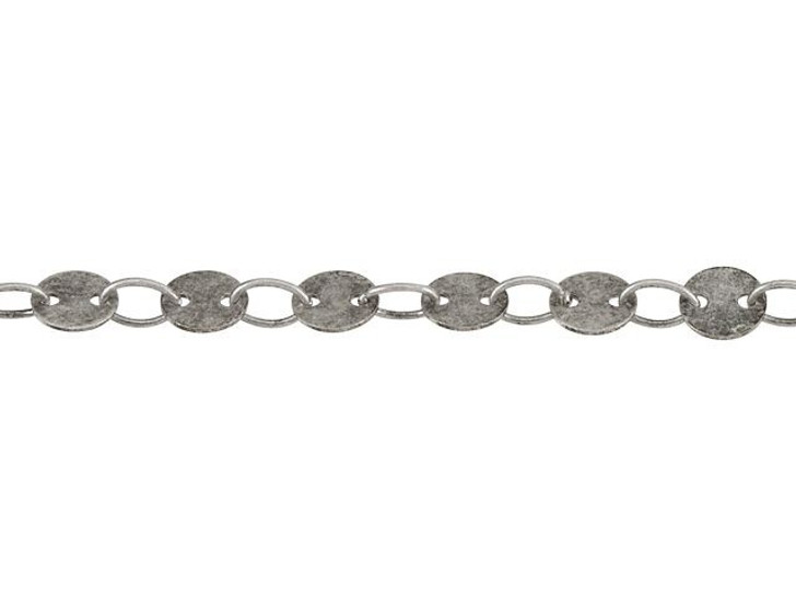 4mm Antique Silver-Plated Brass Round Disc Chain By the Foot