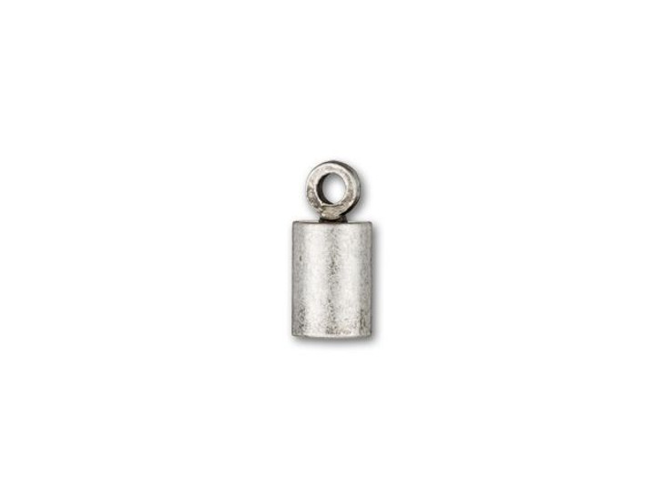 4mm Antique Silver-Plated Cord End Cap with Loop