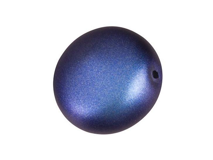 Swarovski 5860 12mm Coin Pearl Crystal Iridescent Dark Blue