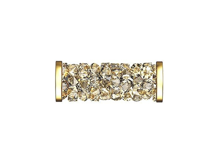 Swarovski 5950 15mm Crystal Golden Shadow Fine Rocks Tube Bead with Gold-Finish Ending
