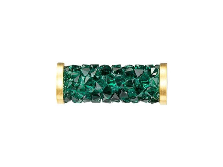 Swarovski 5950 15mm Emerald Fine Rocks Tube Bead with Gold-Finish Ending