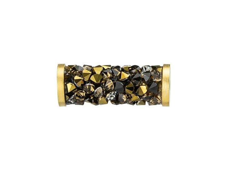 Swarovski 5950 15mm Light Colorado Topaz and Dorado Fine Rocks Tube Bead with Gold-Finish Ending
