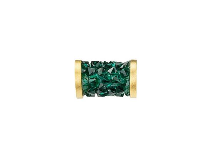 Swarovski 5950 8mm Emerald Fine Rocks Tube Bead with Gold-Finish Ending