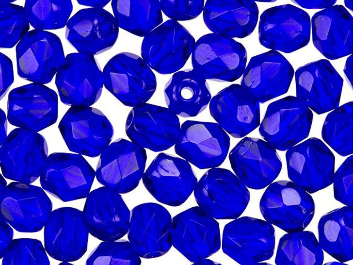 4mm Czech Glass Cobalt Blue Faceted Round Bead Strand by Raven's Journey