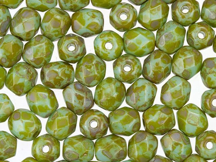 4mm Czech Glass Opaque Turquoise Green with Picasso Finish Faceted Round Bead Strand by Raven's Journey