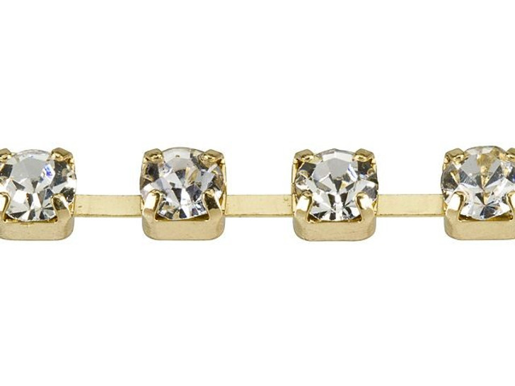 4mm Gold-Plated Brass Crystal Rhinestone Cup Chain By the Foot