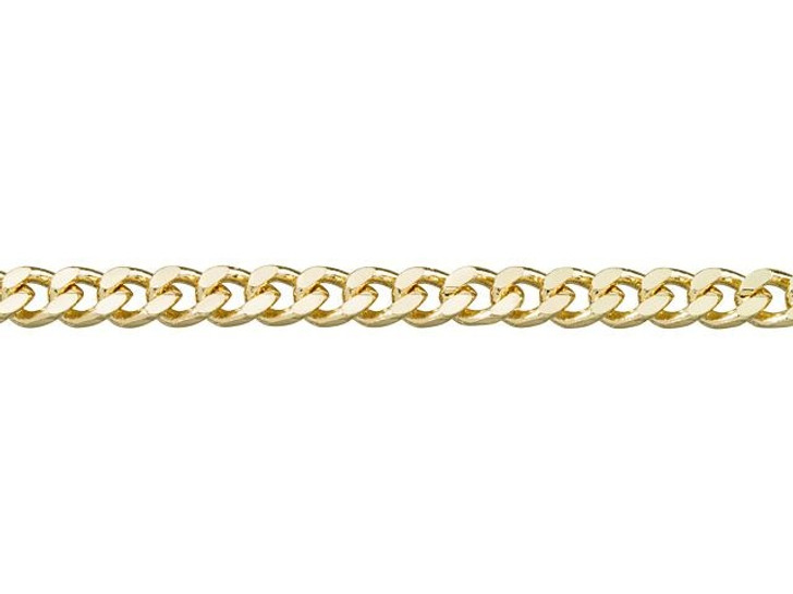 4mm Gold-Plated Brass Small Flat Curb Chain by the Foot