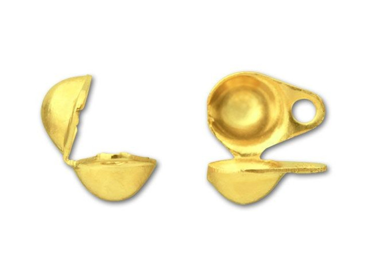 4mm Gold-Plated Clam Shell Bead Tip with 2 Rings