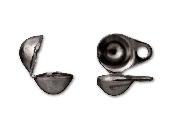 4mm Gunmetal-Plated Clam Shell Bead Tip with 2 Rings