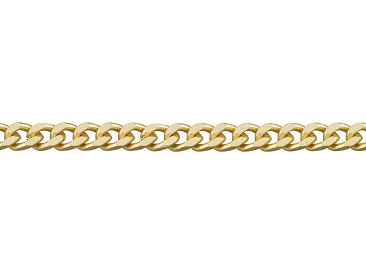 4mm Satin Hamilton Gold-Plated Brass Small Flat Curb Chain By the Foot