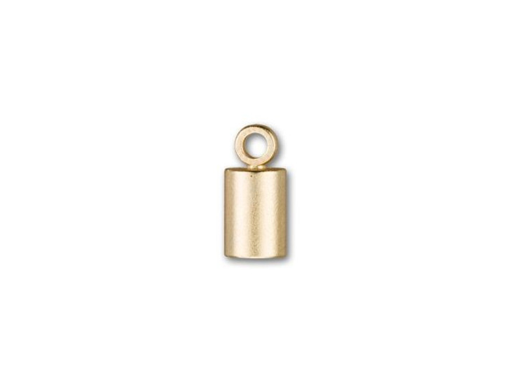 4mm Satin Hamilton Gold-Plated Cord End Cap with Loop