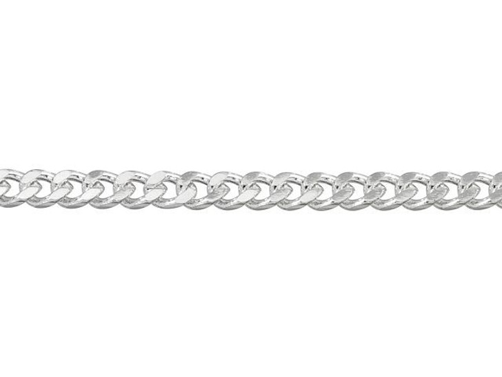 4mm Silver-Plated Brass Small Flat Curb Chain By the Foot