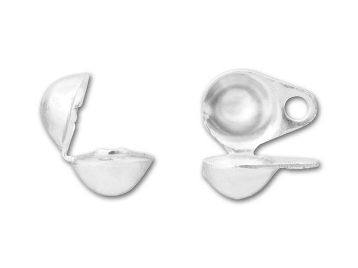 4mm Silver-Plated Clam Shell Bead Tip with 2 Rings