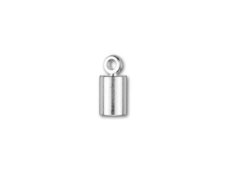 4mm Silver-Plated Cord End Cap with Loop