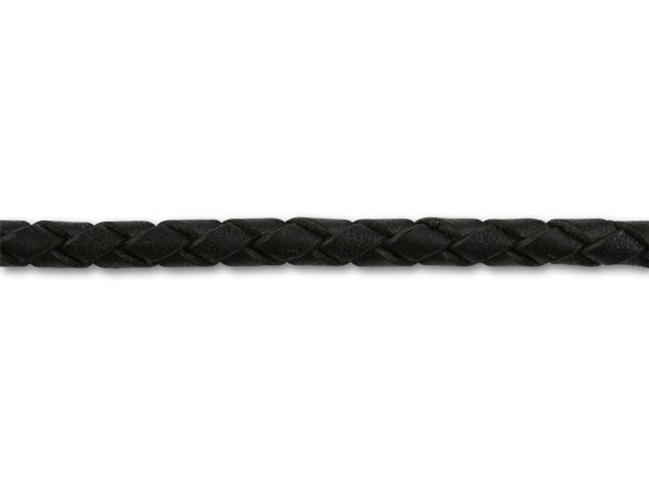 4mm Spooled Braided Leather Black by the Foot