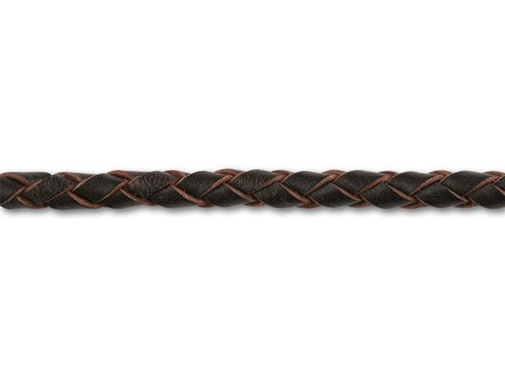 4mm Spooled Braided Leather Brown by the Foot