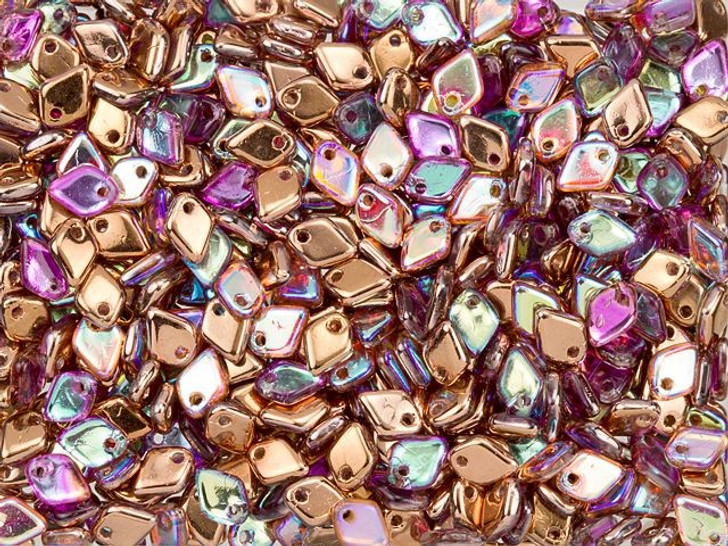 Czech Glass 1.5x5mm Crystal Copper AB Dragon Scale Bead (10 gram pack)