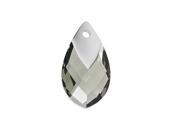 Swarovski 6565 18mm Metallic Cap Pear-Shaped Pendant Black Diamond Light Chrome