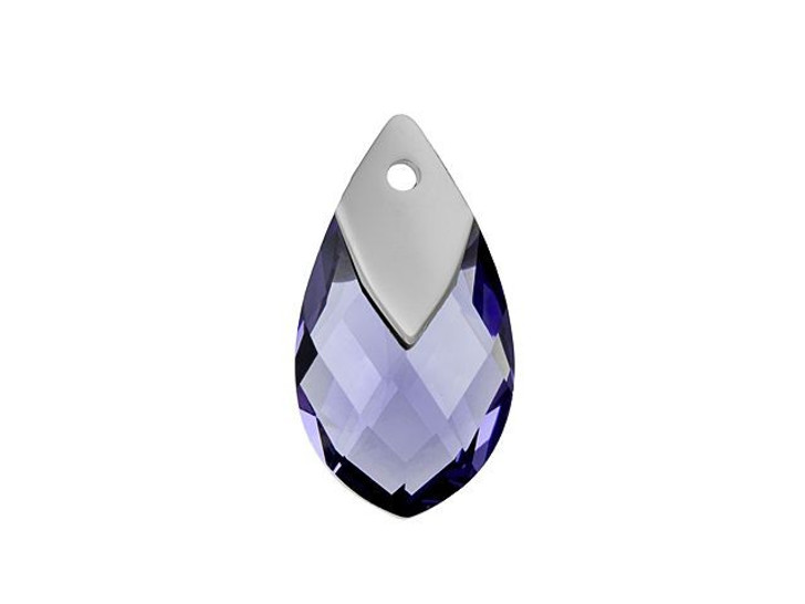 Swarovski 6565 18mm Metallic Cap Pear-Shaped Pendant Tanzanite Light Chrome