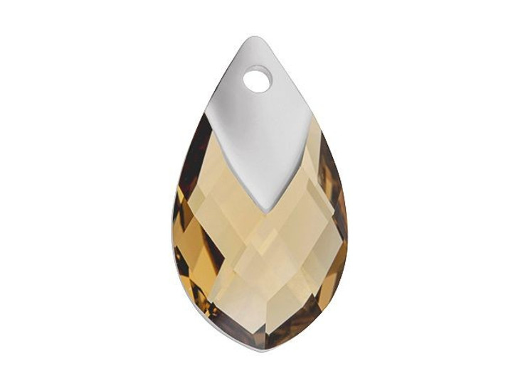 Swarovski 6565 22mm Metallic Cap Pear-Shaped Pendant Light Colorado Topaz Light Chrome