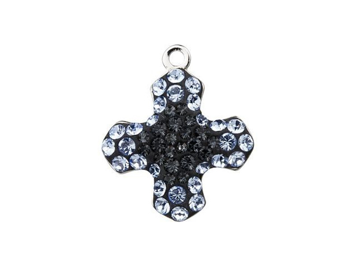 Swarovski 67432 14mm BeCharmed Pave Greek Cross Pendant Crystal Silver Night, Light Sapphire
