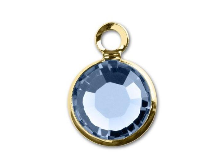 Swarovski 6mm Gold-Plated Light Sapphire 1-ring Channel