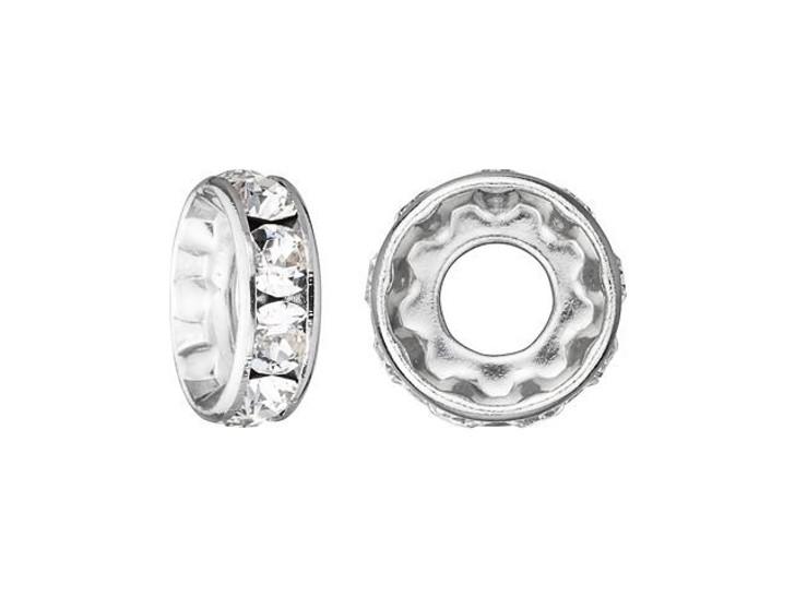 Swarovski 77510 10mm Rhodium-Plated Rondelle with Swarovski Crystals