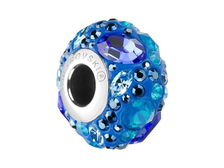 Swarovski 81304 14mm BeCharmed Pave Medleys Aqua, Sapphire, Caribbean Blue Opal, Crystal Metallic Blue