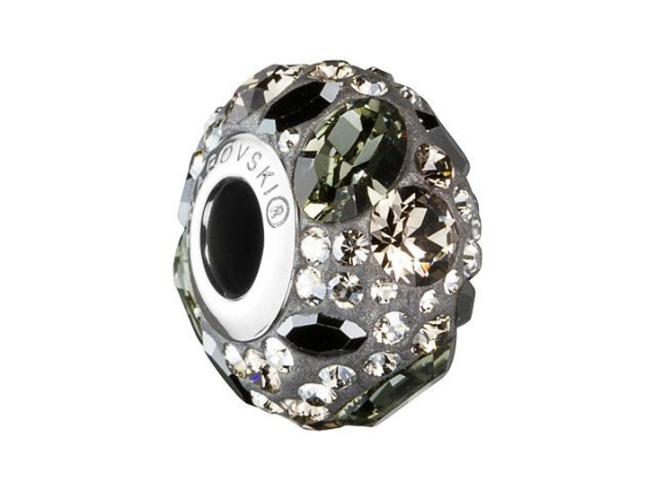Swarovski 81304 14mm BeCharmed Pave Medleys Black Diamond, Jet Hematite, Crystal Silver Shade, Greige