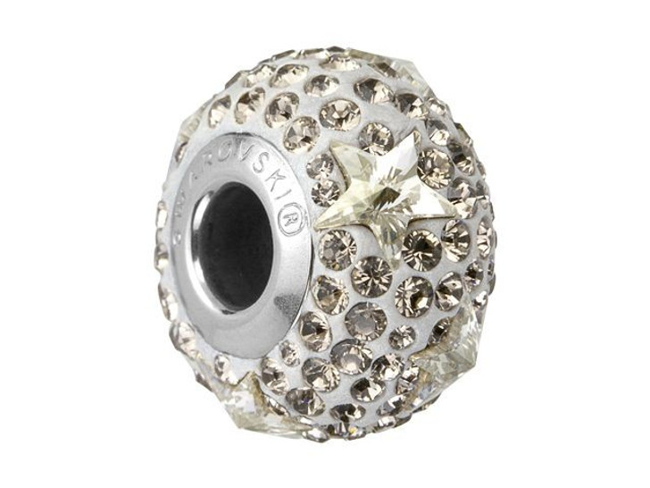 Swarovski 81712 15mm BeCharmed Pave Star Bead Crystal Silver Shade/Greige
