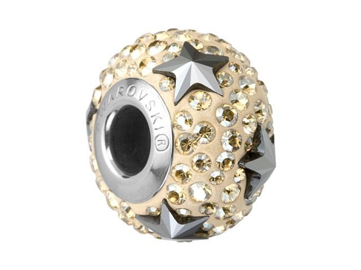 Swarovski 81712 15mm BeCharmed Pave Star Bead Hematite/Crystal Golden Shadow