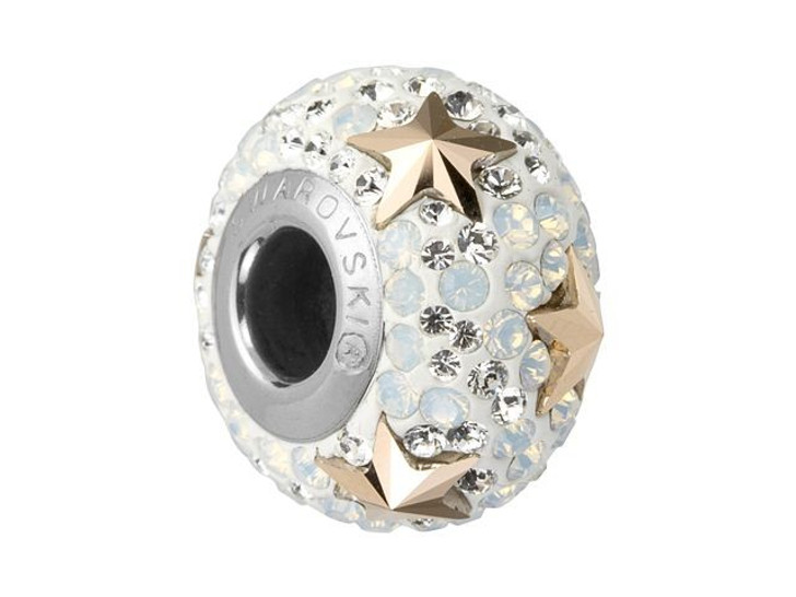 Swarovski 81712 15mm BeCharmed Pave Star Bead Rose Gold/White Opal