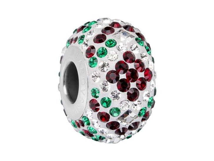 Swarovski 82053 14mm BeCharmed Pave Christmas Bead Siam and Emerald Green