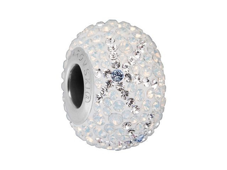 Swarovski 82063 14mm BeCharmed Pave Snowflake Bead White Opal and Light Sapphire
