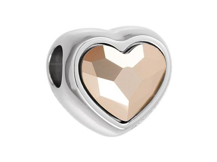 Swarovski 82081 14mm BeCharmed Heart Bead Crystal Rose Gold